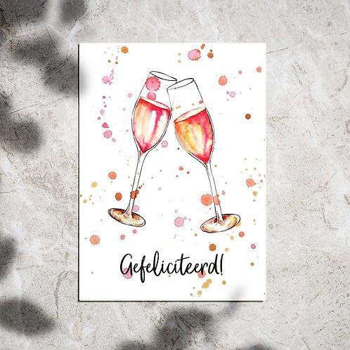 Ansichtkaart 'Gefeliciteerd champagne'