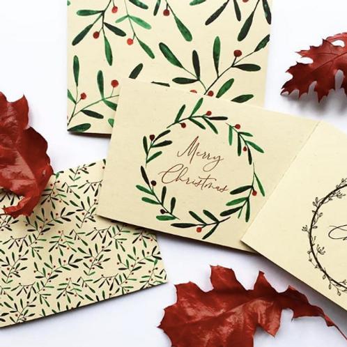 Set van 4 kerstkaarten op kraft papier