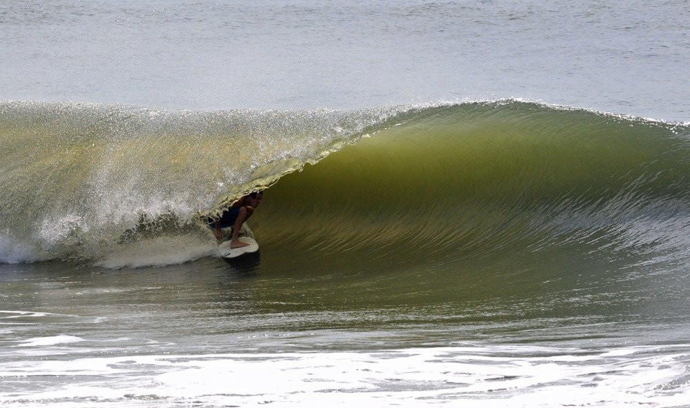 Surfing at the Washout on Folly Beach