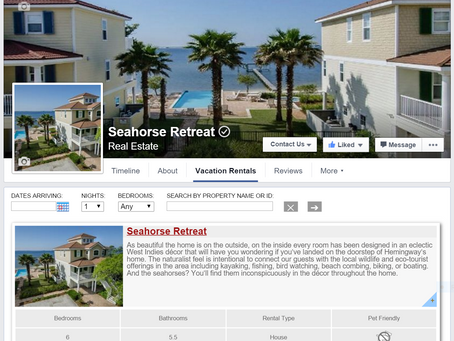 Our New Facebook Page with Vacation Booking