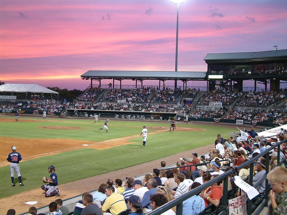 "Sunset over ""The Joe"" (Riley Stadium) in Charleston"