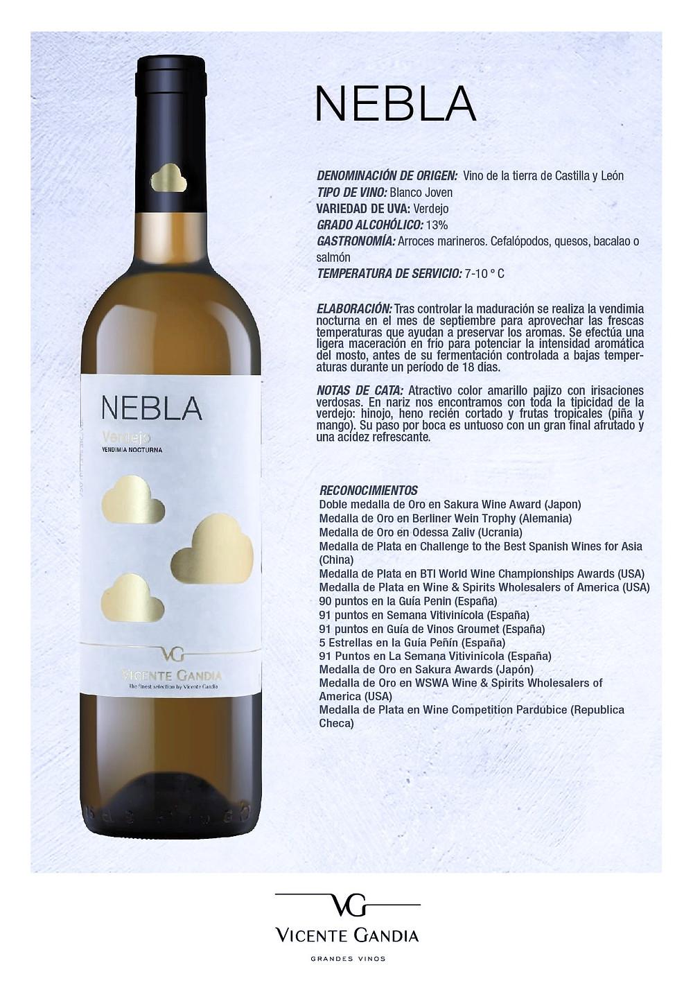 Vino blanco Nebla de Bodegas Vicente Gandía