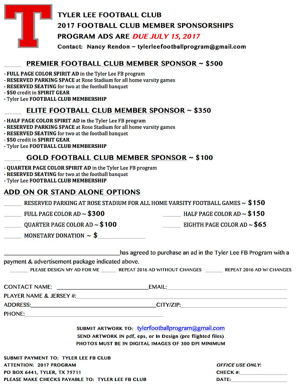 Tyler Lee Football | Club Member Sponsor Form