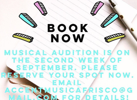 Audition for Two Musicals in September! Please email to accentmusicafrisco@gmail.com to sign up!