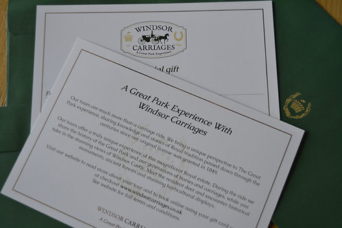 Tours into The Deer Park Gift Certificate
