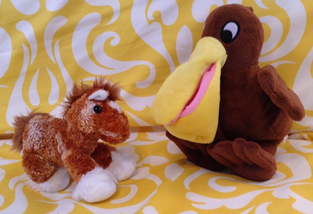 A horse from Kentucky & Peri the Pelican
