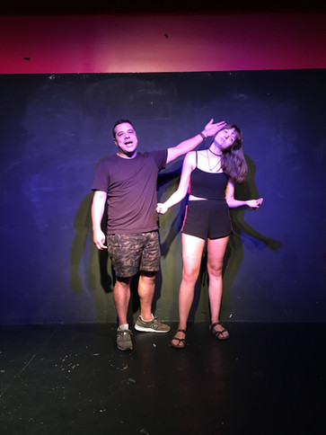"""Elise improvising in """"Fishbowl"""" at The Annoyance Theatre August 2018."""