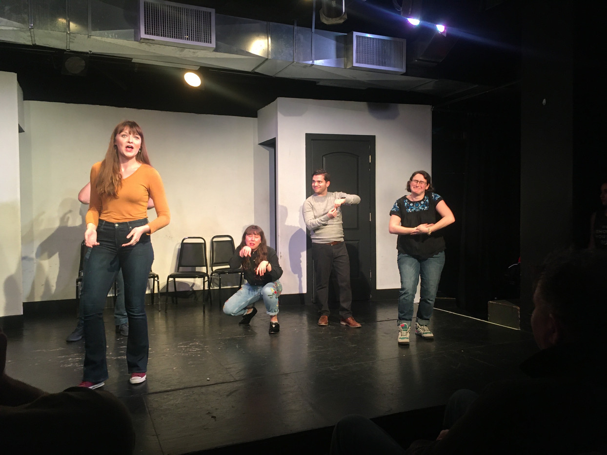 """Elise improvising at NYC's The Magnet Theatre in """"The Circuit"""" January 2020."""