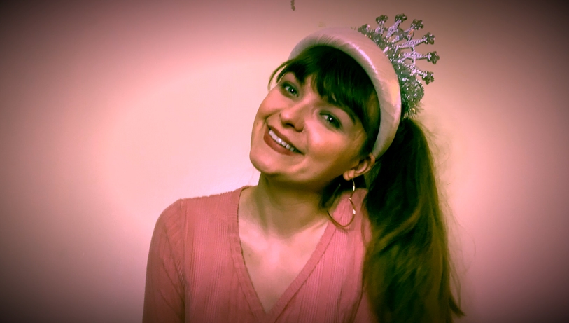 Elise as Glinda in The Story of Wicked.