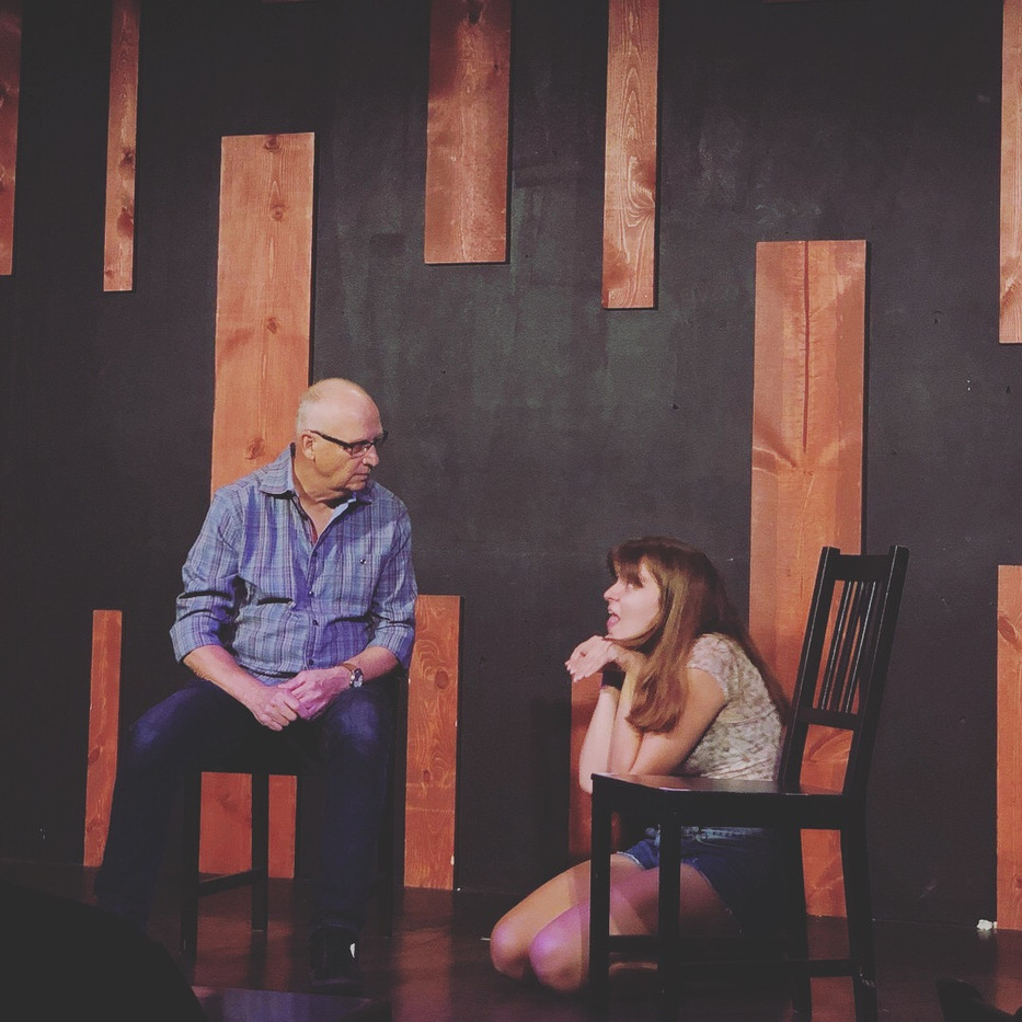 Elise improvising at The Annoyance Theatre August 2018.