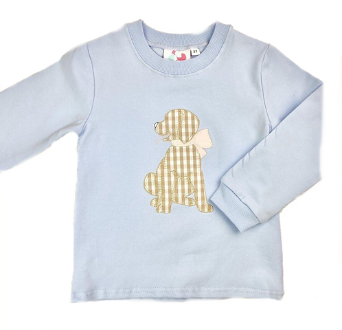 Puppy With Bow Applique Sweatshirt - Girl