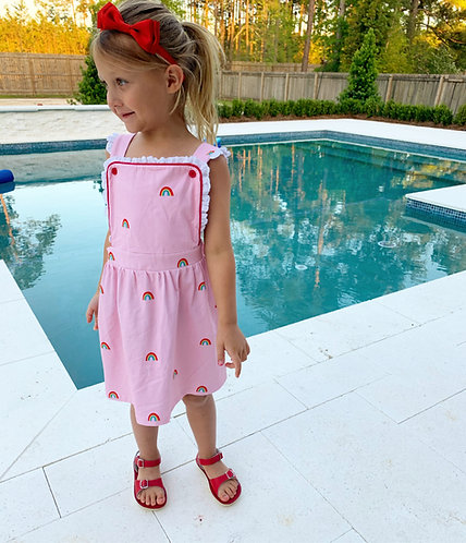 Knit Rainbow Dress with Eylet Trim