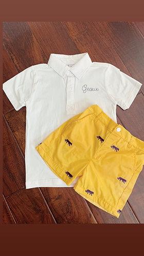 Gold tiger shorts