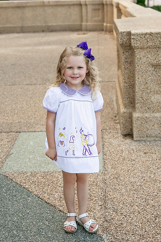 Game Day Parade Classic Dress - Tiger - Purple & Gold