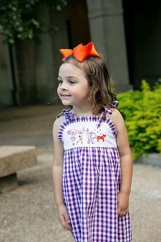Game Day Parade Tie Strap Dress - Tiger - purple & orange