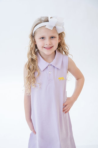 Tiger Embroidered Knit Polo Dress