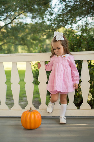 Pink Gingham Pumpkin Bloomer Set