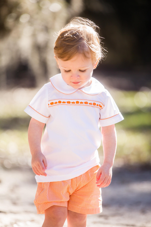 boys pumpkin shorts