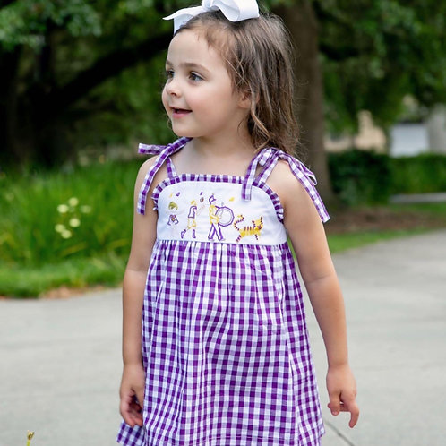Game Day Parade Tie Strap Parade Dress - Tiger - purple & gold