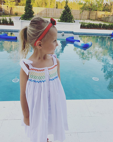 Only Rainbows Smocked Tie Dress