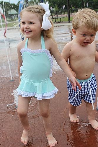 Mint Ruffle Skirt One Piece Swimsuit