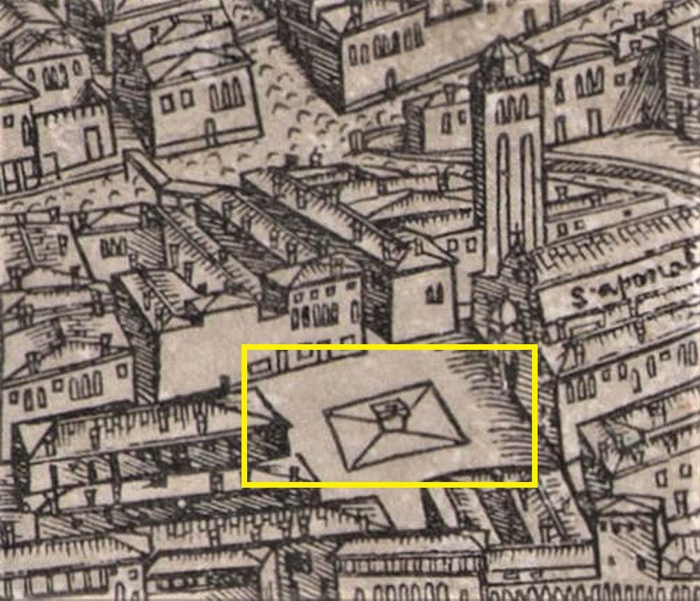 Vera de pozo en el campo Sant'Aponal (mapa de Barbari del año 1500)