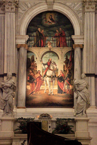 """la obra de Carpaccio """"San Vidal a caballo con ocho santos"""""""