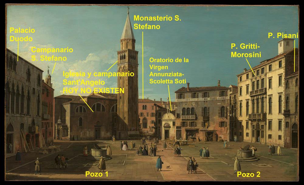 nos encontramos dentro de un cuadro de Canaletto, es el campo de Sant'Angelo (o Sant'Anzolo en veneciano) en el siglo XVIII