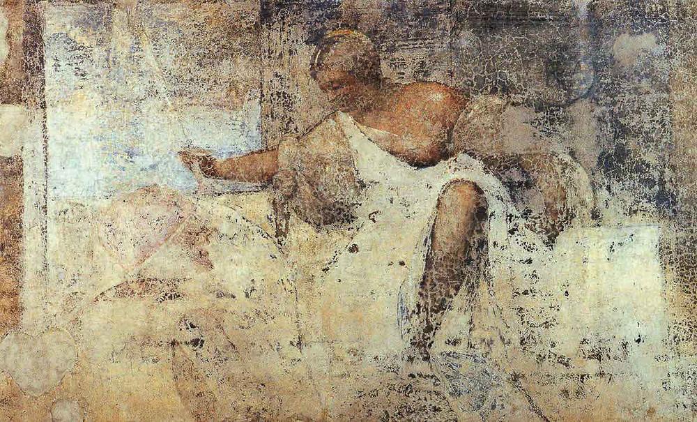 Fragmento de los frescos de la fachada de Fondaco dei Tedeshi en museo Ca d'Oro: la Justicia de Tiziano