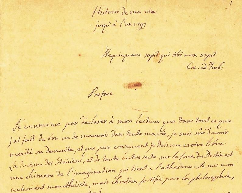 Original de la primera hoja de la autobiografía de Casanova