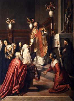 Pascual Cicogna escuchando misa qn el oratio dei Crociferi, Palma el Joven