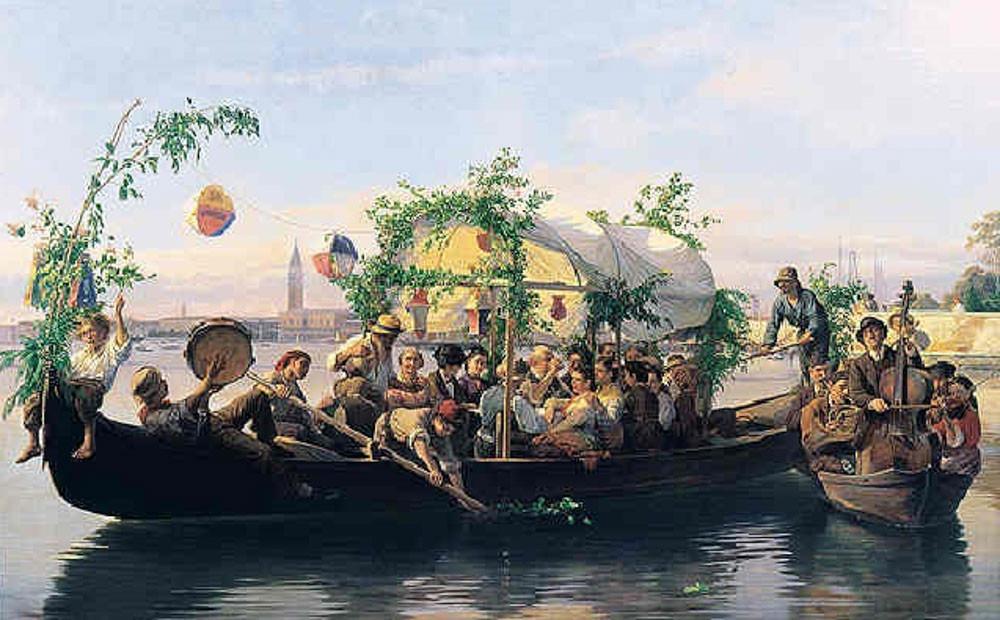 Barca decorada para la fiesta del Redentor con faroles y ramas. Cuadro de Antonio Rotta