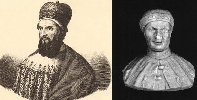 El dux Domenico Michiel, a la izquierda con barba larga y a la derecha sin ella (parece que a él también le obligó la prohibición