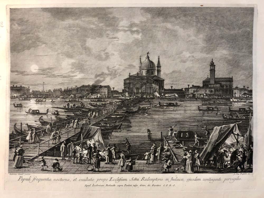 Fiesta del Redentor, se muestra el Puente de los Barcos que conduce al Redentor a través del Canal de la Giudecca (celebrado el tercer domingo de julio), aguafuerte y grabado de Brustolon según Canaletto