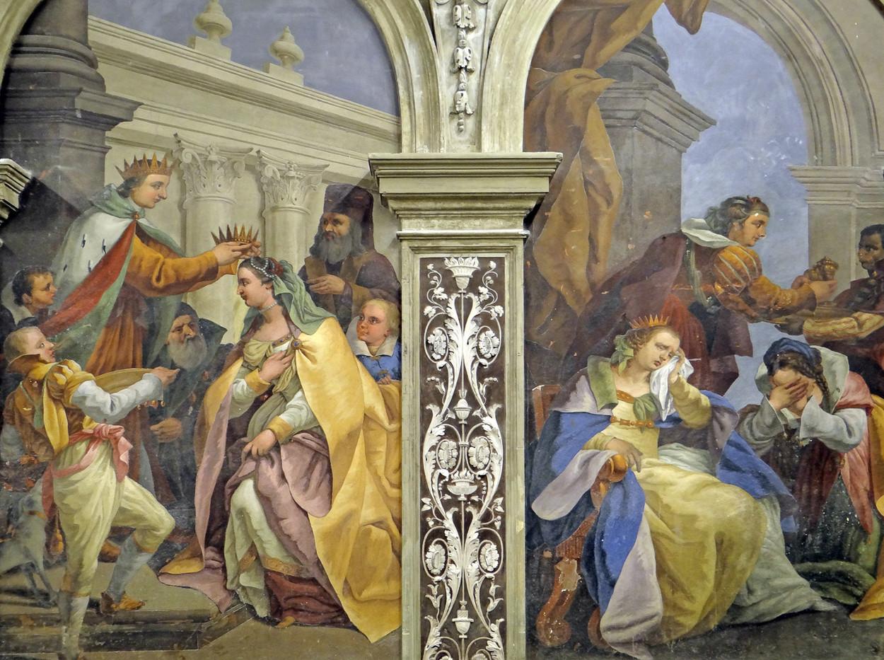 Fresco que probablemente representa la coronación de Caterina como reina de Chipre