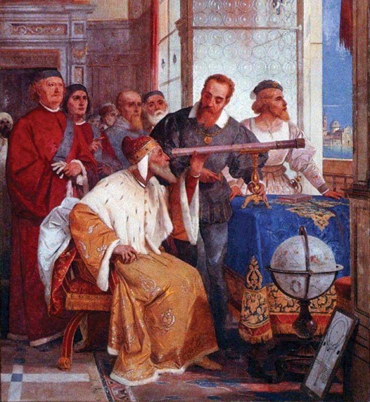 Galileo Galilei mostrando al dux de Venecia el funcionamiento del telescopio.