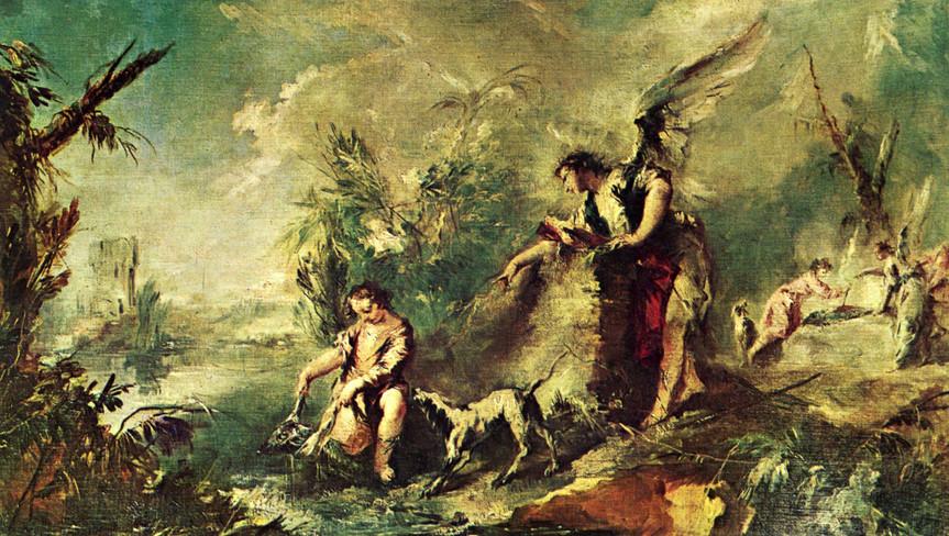 Tobias pescando con el Arcángel Rafael de Guardi