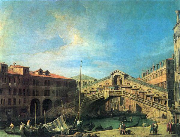 El puente de Rialto en cuadro de Canaletto (siglo XVIII)