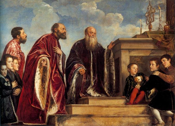 la Familia Vendramin, Tiziano