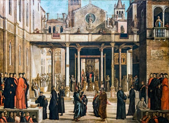 Oferta de la Reliquia de la Cruz a la confraternidad de la Scuola, Bastiani