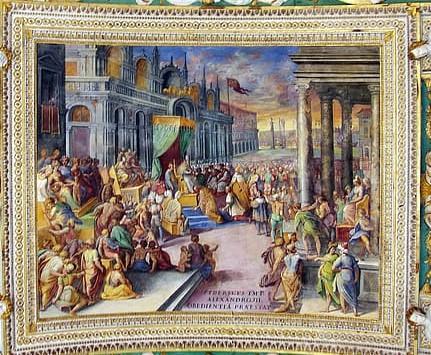 Federico Barbarroja se somete a la autoridad del Papa Alejandro III en Venecia- techo abovedado en la galería de los mapas en el Museo Vaticano - Roma. A la ziquierda la Basílica de San Marcos
