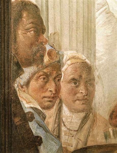 Tiepolo, que se representó a sí mismo en el banquete sentado y de perfil, con su amigo habitual Mengozzi de pie junto a él, sus ojos ingeniosos y su nariz aguda y aguileña