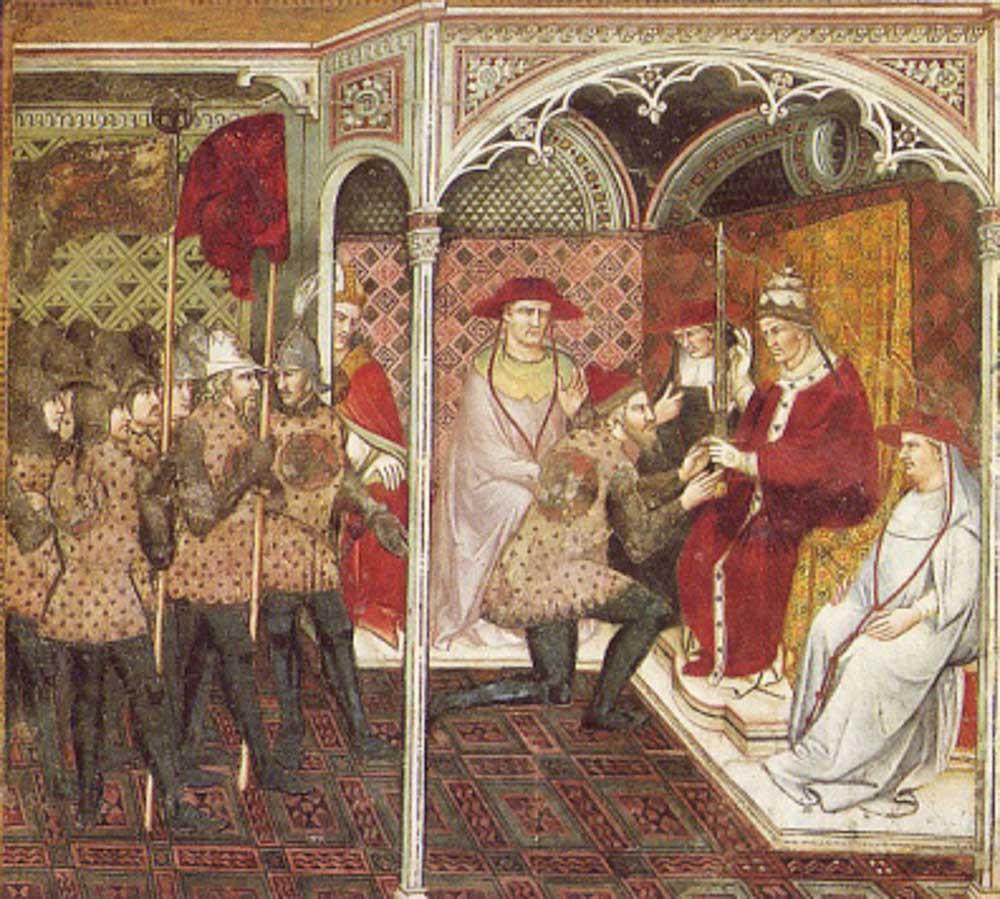 Alejandro III entrega la espada al dux Ziani, fresco de Spinello Aretino, palacio de Siena