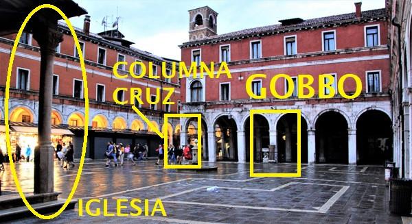 Plaza de San Giacomo Rialto. Situación de la iglesia, la columna de la cruz y la iglesia