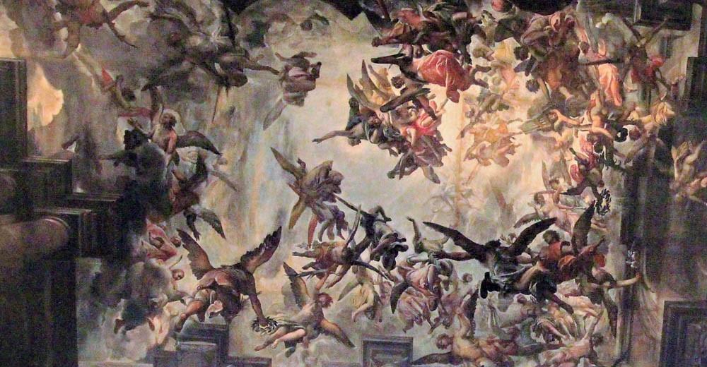 La gloria del Santo cuando es recibido en el cielo por Cristo y una multitud de ángeles