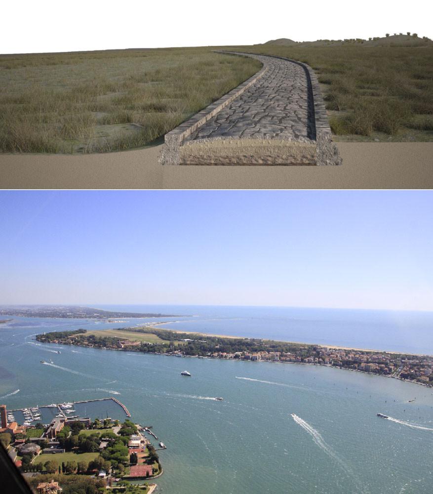 Recreación de la calzada romana en la laguna de Venecia y debajo la zona actual donde se encuentra sumergida