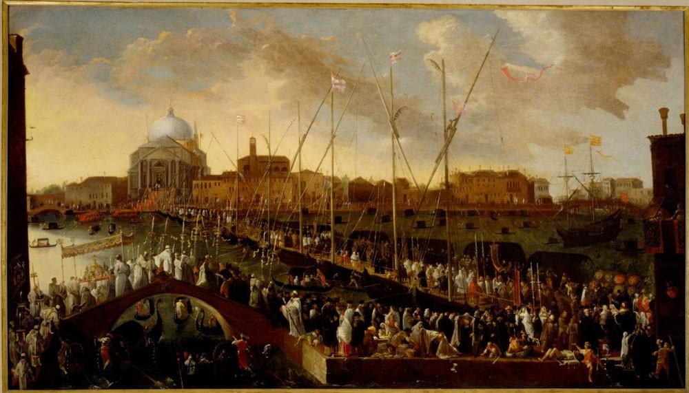 La procesión de la Fiesta del Redentor, en cuadro de Joseph Heintz (1600-1678)