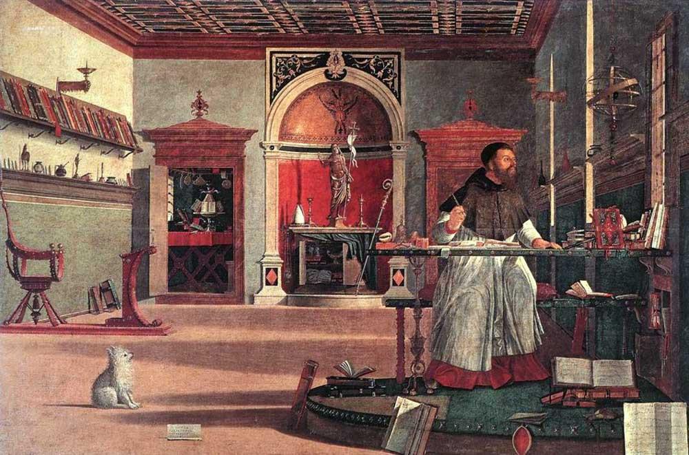 SAN AGUSTÍN EN SU ESTUDIO, el tema es la premonición de la muerte de San Jerónimo por parte de San Agustín