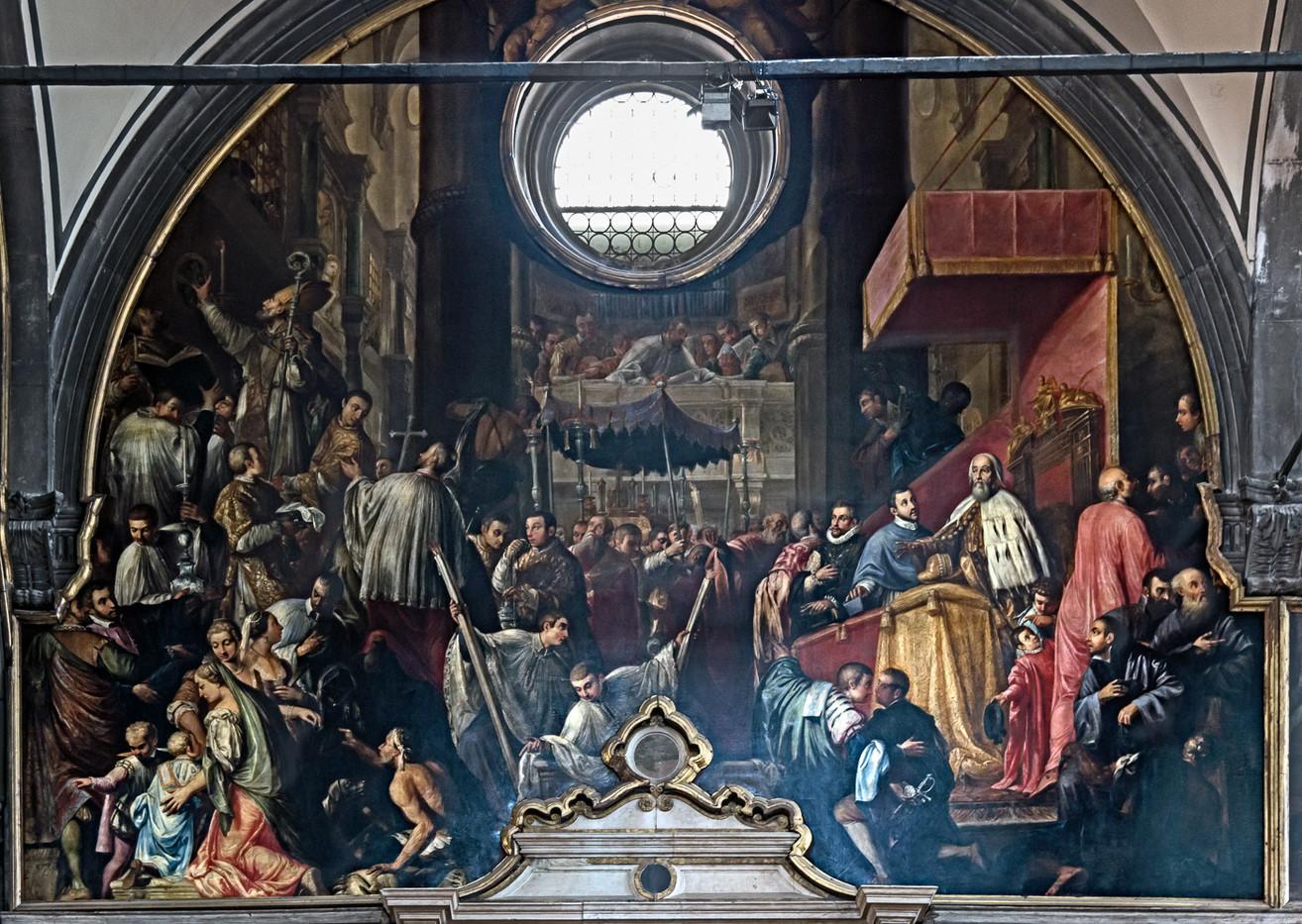 El Dux Piero Lando asiste a la consagración del iglesia en 1543