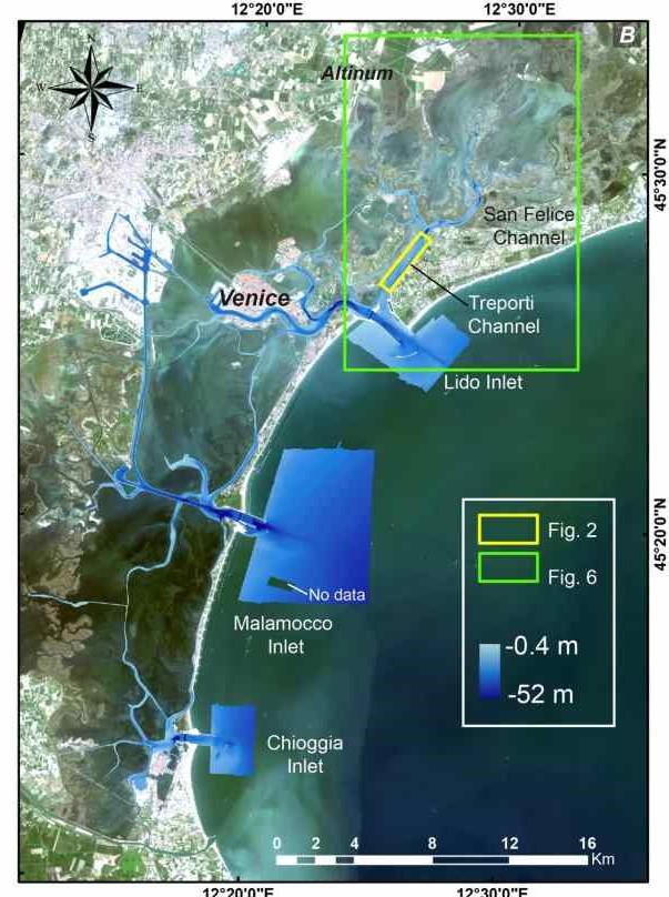El área de los hallazgos en la parte norte de la laguna de Venecia. El recuadro amarillo marca la zona donde se encuentra la calzada romana. Fuente de la imagen satelital: Esri DigitalGlobe, GeoEye, i-cubed, USDA, USGS, AEX, Getmapping, Aerogrid, IGN, IGP, swisstopo y la comunidad de usuarios de GIS